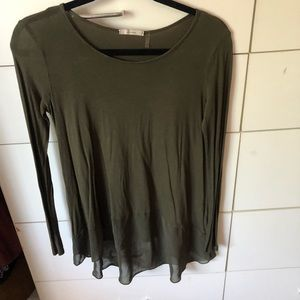 Long sleeve top with sheer trim